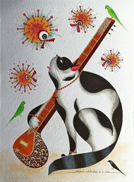 Where have all the humans gone? by Bhaskar Chitrakar, Folk Painting, Natural colours on paper, Quill Gray color