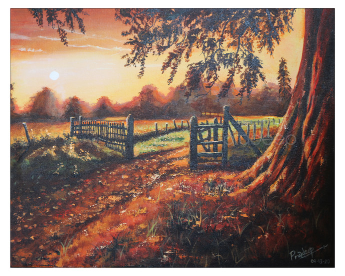 The sunset timing by Pradeep P, Fantasy Painting, Acrylic on Canvas, Matterhorn color