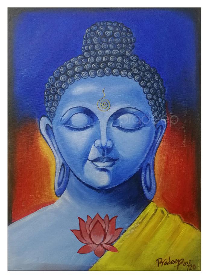 Buddha by Pradeep P, Decorative Painting, Acrylic on Canvas, Chambray color