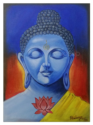 Buddha by Pradeep P, Decorative Painting, Acrylic on Canvas, Chambray color