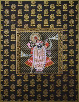 Pichwai by Unknown Artist, Folk Painting, Natural stone colour on cotton, Zeus color