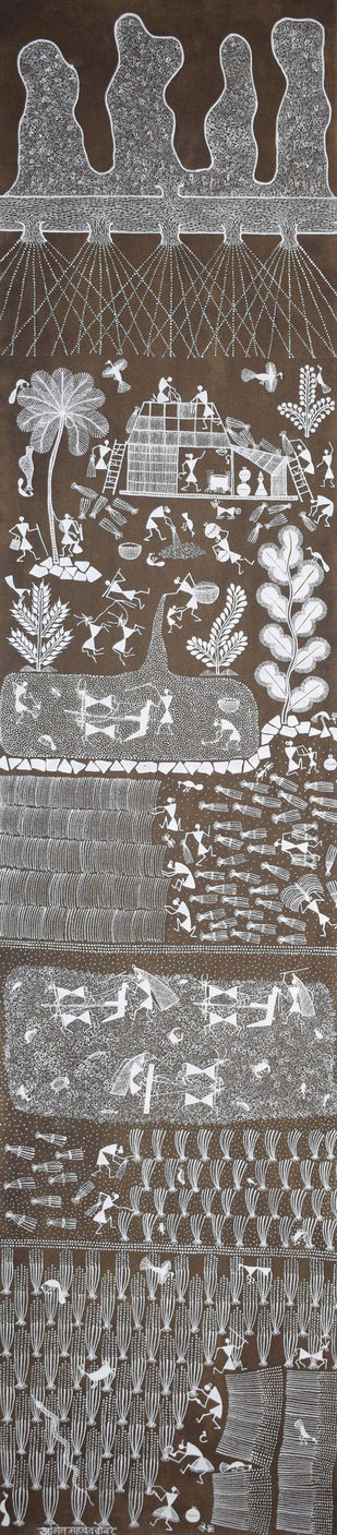 Warli Art by Amit Mahadev Dombhare, Expressionism Painting, Cow dung on Cloth, Armadillo color