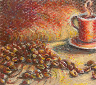 Coffee beans and Mug Digital Print by Shalini Sinha,Expressionism