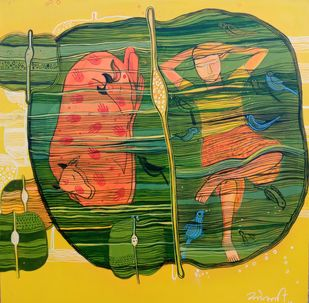 Rest 2 by Sonali Chouhan, Expressionism Painting, Acrylic on Canvas, Everglade color