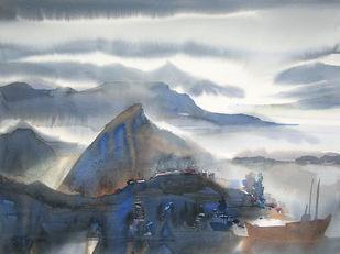 Mindscape by Sunil Kale, Impressionism Painting, Pen, pencil, watercolour on paper, Silver Sand color