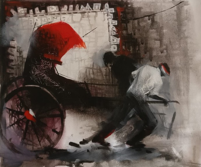 Rickshaw Puller - 4 by Dilip Chaudhury, Impressionism Painting, Mixed Media on Canvas, Silk color