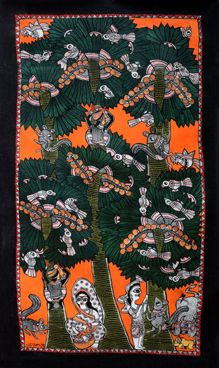 Madhubani Painting by Unknown Artist, Folk Painting, Acrylic on Canvas,