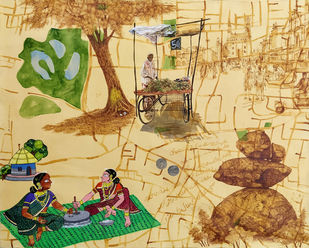 Glimpse of Hyderabad 09 by Debabrata Biswas, Expressionism Painting, Mixed Media on Canvas, Calico color