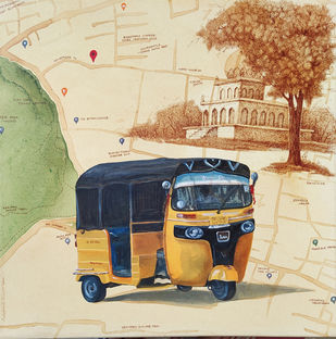 Glimpse of Hyderabad 11 by Debabrata Biswas, Impressionism Painting, Mixed Media on Canvas, Bright Gray color