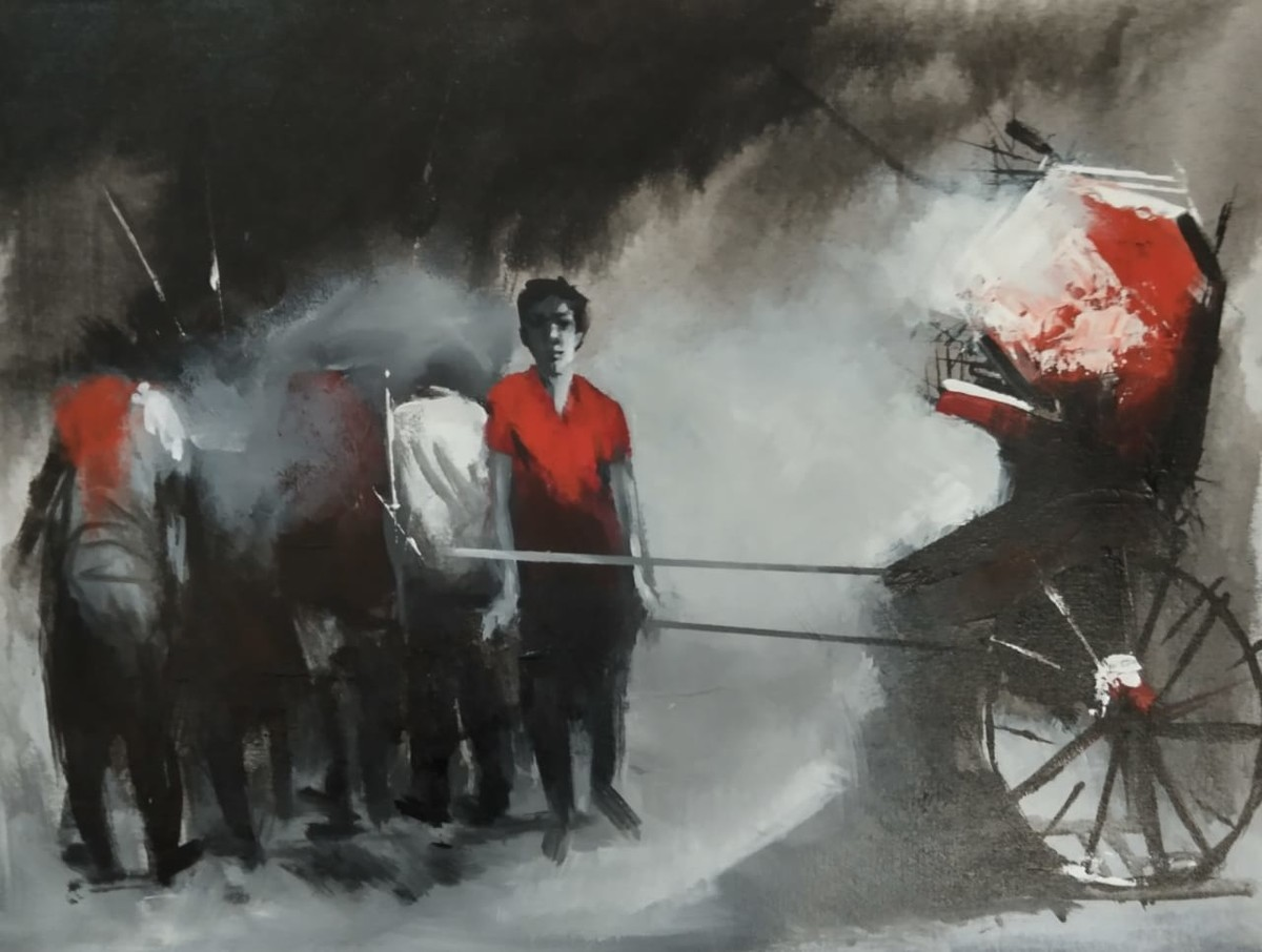 Rickshaw Puller - 5 by Dilip Chaudhury, Impressionism Painting, Mixed Media on Canvas, Tuatara color