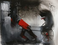 Rickshaw Puller - 7 by Dilip Chaudhury, Impressionism Painting, Mixed Media on Canvas, Cotton Seed color