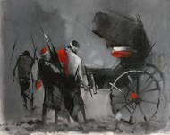 Rickshaw pullers - 9 by Dilip Chaudhury, Impressionism Painting, Mixed Media on Canvas, Ironside Gray color