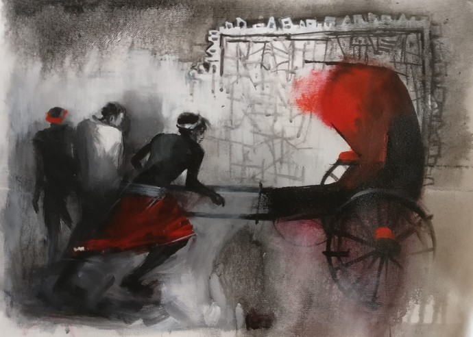 Rickshaw Pullers - 10 by Dilip Chaudhury, Impressionism Painting, Mixed Media on Canvas, Masala color