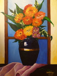 Vase of Flowers by Mallika Seth, Expressionism Painting, Acrylic on Canvas, Rob Roy color