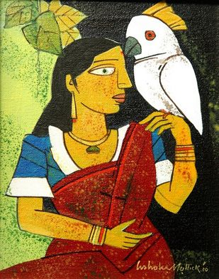 Untitled by Ashoke Mullick, Expressionism Painting, Acrylic on Canvas, Old Gold color