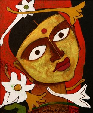 Untitled by Ashoke Mullick, Expressionism Painting, Acrylic on Canvas, Fiery Orange color