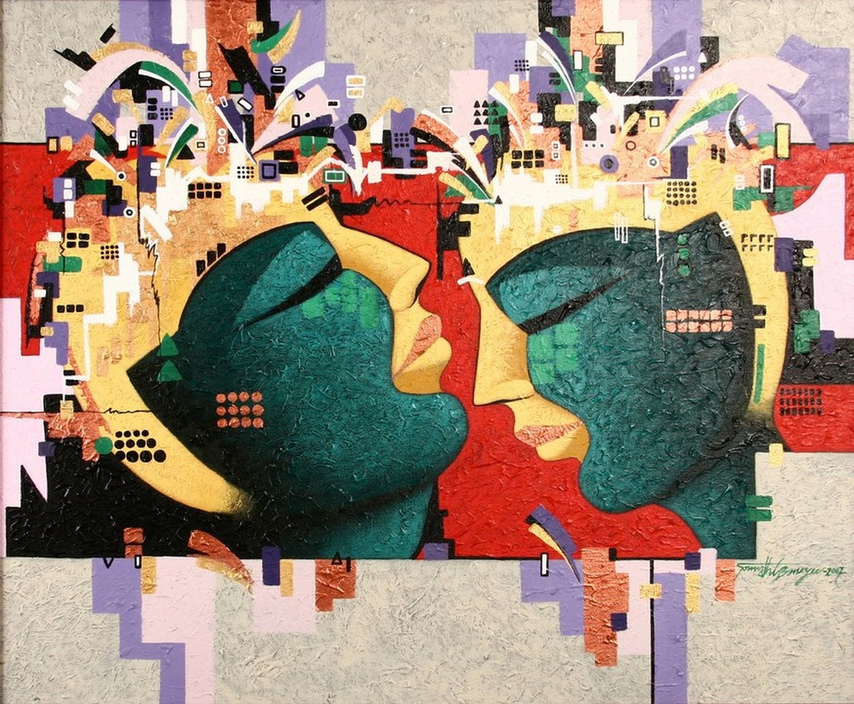 Couple by Somnath Benerjee, Expressionism Painting, Acrylic on Canvas, Wafer color