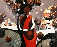 Eldarodo by Somnath Benerjee, Expressionism Painting, Acrylic on Canvas, Cashmere color