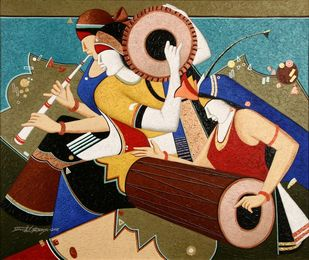 Musicians by Somnath Benerjee, Expressionism Painting, Acrylic on Canvas, Calico color