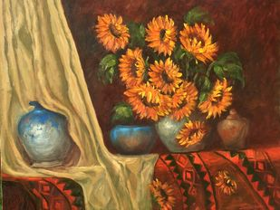 Ambience by Sarita Ganla, Expressionism Painting, Oil on Canvas,