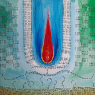 Ram iii by Jignesh Jariwala, Expressionism Painting, Acrylic on Canvas, Gumbo color