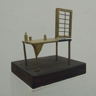 Blue Corner by Rutvik Mehta, Art Deco Sculpture   3D, Brass,