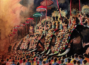 Thrissur Pooram by Mopasang Valath, Impressionism Painting, Watercolor on Paper, Jon color