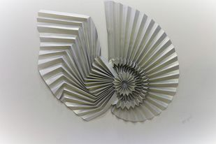 Wings of Love by Asha Gulati, Art Deco Sculpture | 3D, Hand Cut Paper, Gray Nickel color