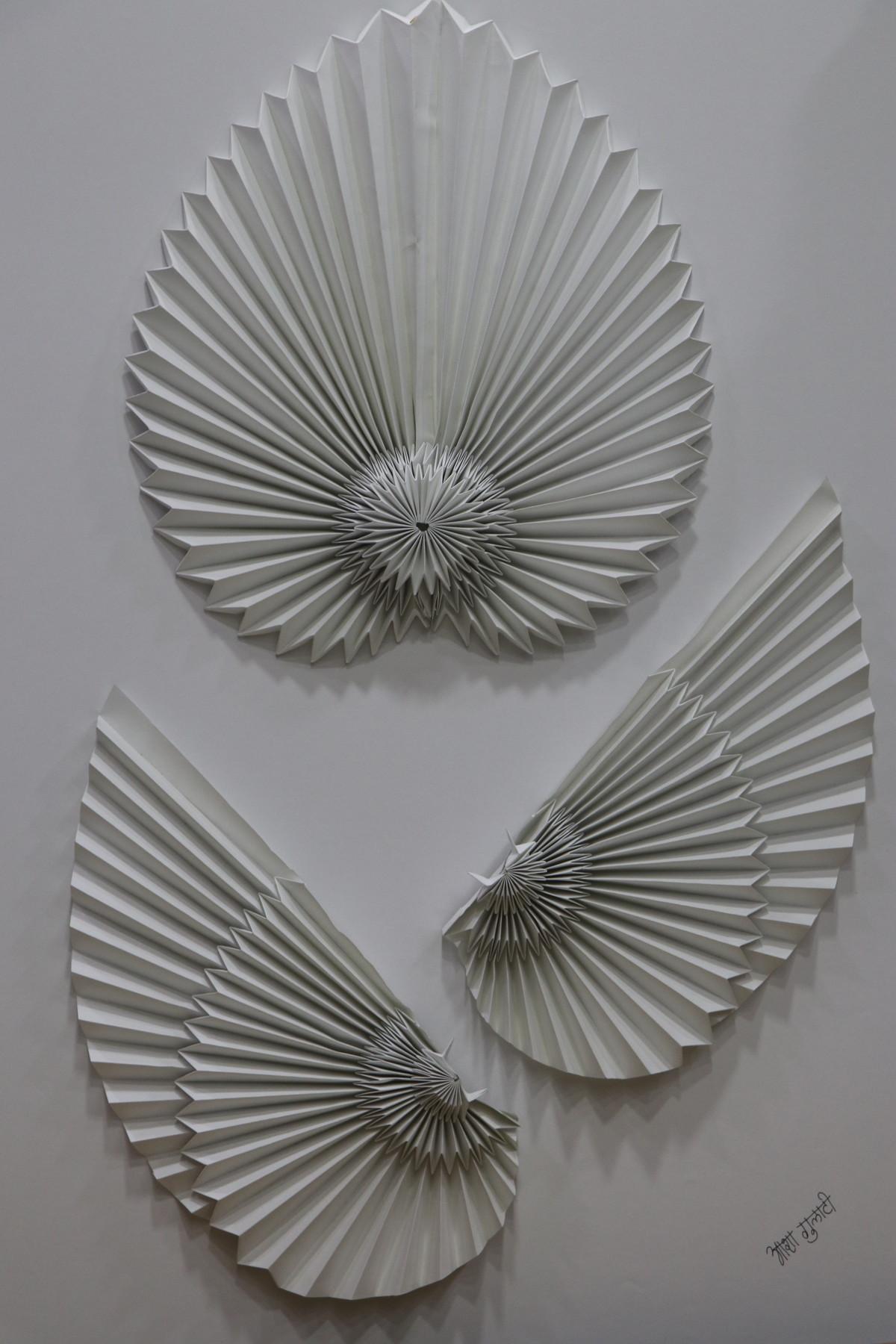 Conquer Your Dreams by Asha Gulati, Art Deco Sculpture   3D, Hand Cut Paper, Gray color