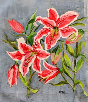 Red lily's by Neha gupta, Expressionism Painting, Acrylic on Canvas, Dusty Gray color