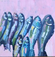 Fishes spoke in whispers by Neha gupta, Expressionism Painting, Acrylic on Canvas, Astronaut color