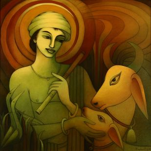 Untitled by Prabal Roy, Expressionism Painting, Acrylic on Canvas, Deep Bronze color