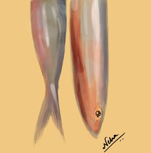 fishes wrapped in gold. by Neha gupta, Expressionism Digital Art, Digital Print on Canvas, Rob Roy color