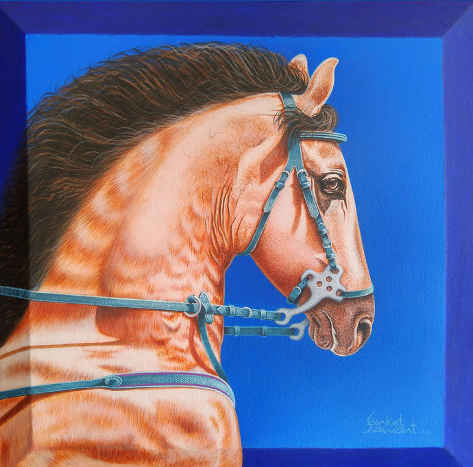 Unstoppable.... by sanket sawant, Photorealism Painting, Acrylic on Canvas, Denim color