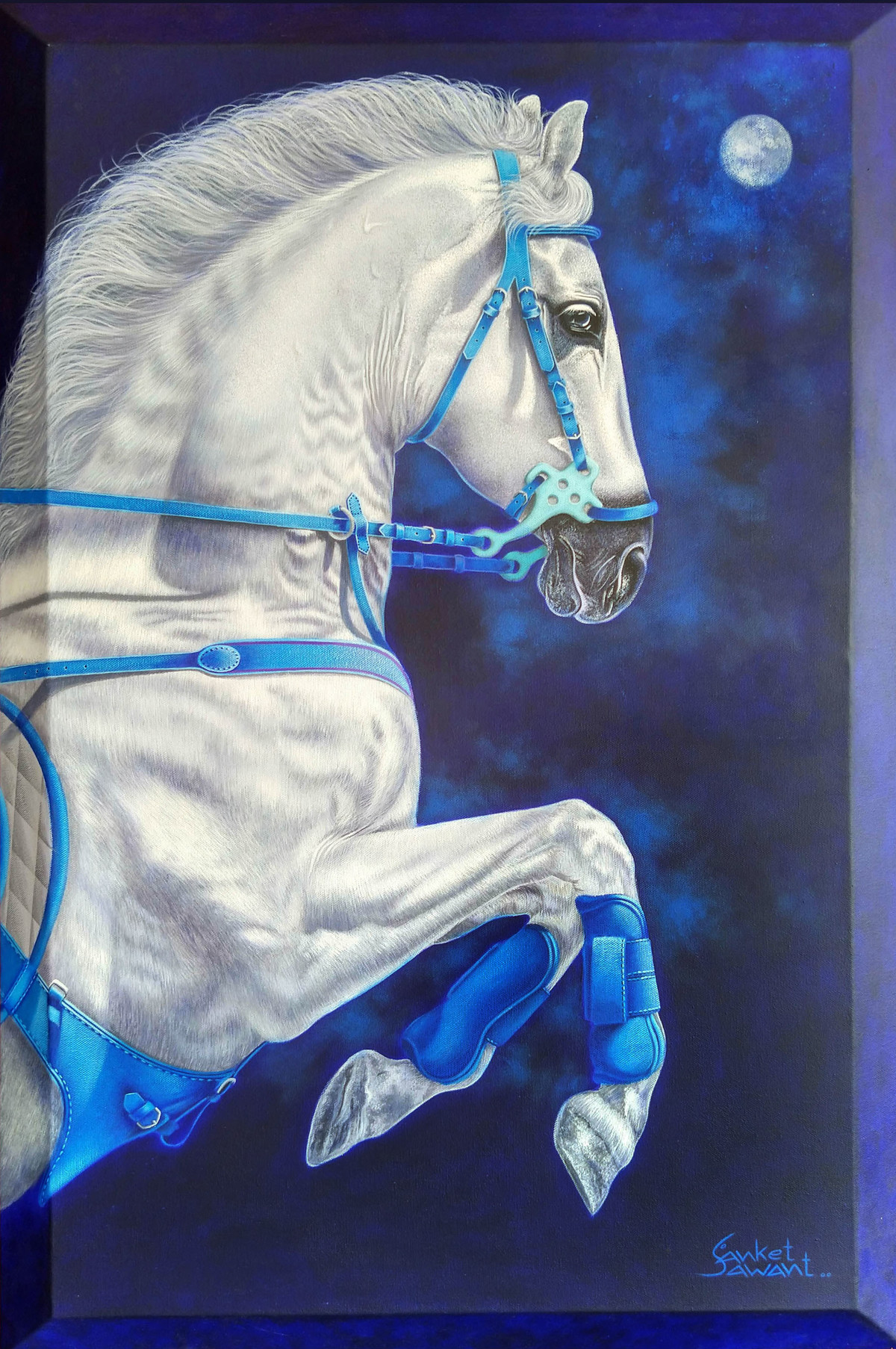Unstoppable... by sanket sawant, Photorealism Painting, Acrylic on Canvas, Celeste color