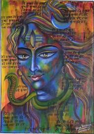 Abstract Shiva by Pratibha Jadhav, Traditional Painting, Acrylic on Canvas, Tundora color