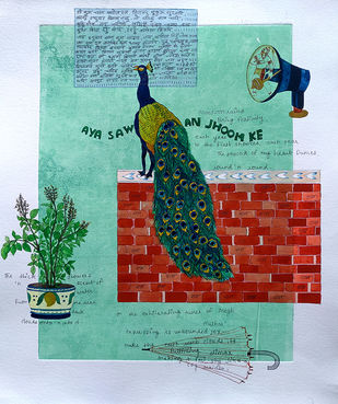 Jo jahan hein wahin rahe by Sonal Varshneya, Expressionism Painting, Watercolor on Paper, Shadow Green color