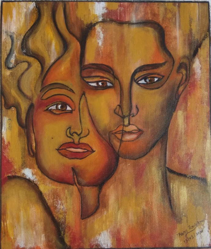 Fire in love by Pratibha Jadhav, Expressionism Painting, Acrylic on Canvas, Sepia Skin color