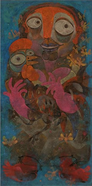 Phoolkumari with Rooster by Atish Mukherjee, Expressionism Painting, Tempera on Canvas Board, Armadillo color