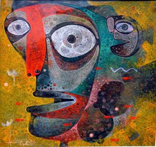 The Fish by Atish Mukherjee, Expressionism Painting, Tempera on Canvas, Yellow Metal color