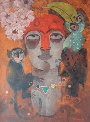 My Own Muse - 1 by Atish Mukherjee, Expressionism Painting, Tempera on Canvas Board, Almond Frost color