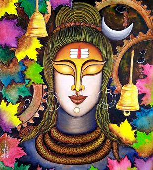 SHIVAM by SUSMITA MANDAL, Traditional Painting, Acrylic on Canvas, Harvest Gold color