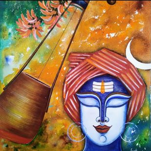 Baul Vaishnav by SUSMITA MANDAL, Traditional Painting, Acrylic on Canvas, Pickled Bluewood color