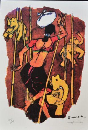 Gajagamini(Husain2000) by M F Husain, Expressionism Serigraph, Serigraph on Paper, Cocoa Brown color