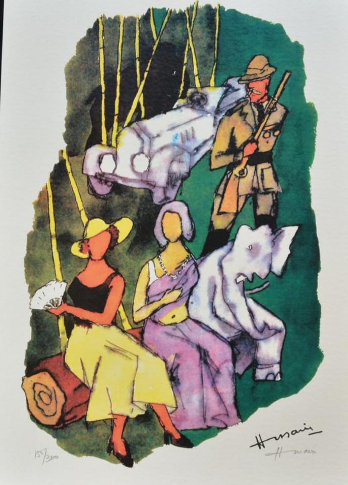 Gajagamini(Husain2000) by M F Husain, Expressionism Serigraph, Serigraph on Paper, Swirl color