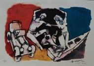 Gajagamini(Husain2000) by M F Husain, Expressionism Serigraph, Serigraph on Paper, Dawn color