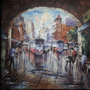 Twins tram in Kolkata by Shubhashis Mandal, Impressionism Painting, Watercolor on Paper, Masala color