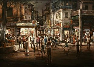 Market by Shuvendu Sarkar, Expressionism Painting, Acrylic on Canvas, Black Marlin color