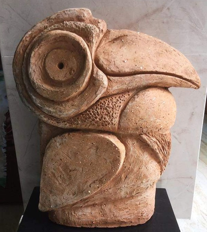 Hornbill by Atish Mukherjee, Art Deco Sculpture | 3D, Terracotta, Beaver color