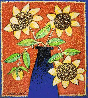 Flower 3 by Manoj Dutta, Expressionism Painting, Tempera on Board, Tuscany color
